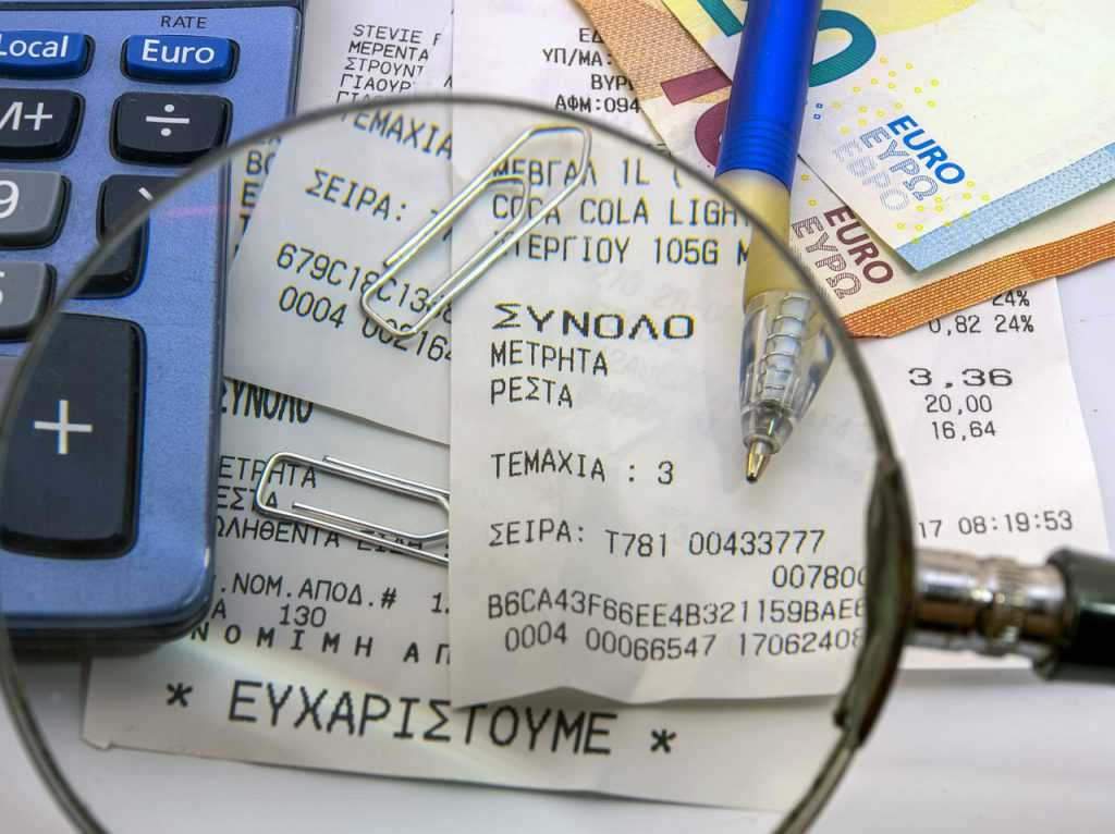 receipts, tax office, bank notes